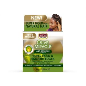 African Pride Olive Miracle Silky Smooth Edges Hair Gel, 2.25 oz (64g)