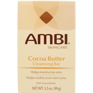 Ambi Skin Care Cocoa Butter Cleansing Bar 3.5oz Cocoa Butter Cleansing Bargoes beyondcleansingto naturally moisturize and help even out skin tone. Its creamy rich lather gently yet effectively washes away surface impurities to reveal clean, smooth even-looking skin. Enriched withcocoa butter, dry skin is gently moisturized