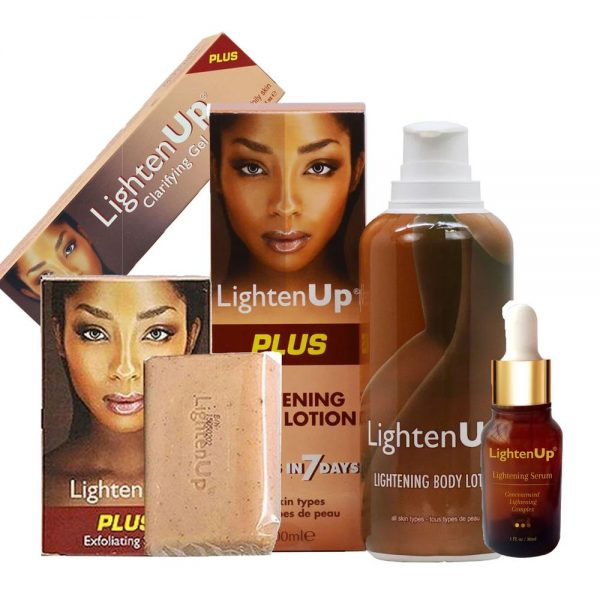 Lighten-Up Plus 4-pc Set (Lotion, Serum, Soap & Gel)