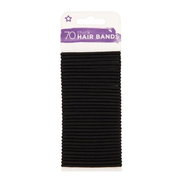 Superdrug Hair Bands Black 70pcs